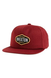 Brixton Men's Oakland Snapback Cap Red Burgundy