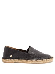 Valentino Feather Strap Leather Espadrilles Black