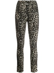 Alice Olivia Connley Shimmer Leopard Trousers Brown