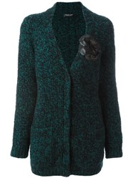 Twin Set Elbow Patch V Neck Cardigan Green