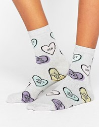 Asos Anti Valentines Heart Socks Black