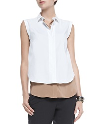 Brunello Cucinelli Two Tone Layered Sleeveless Blouse Biscotti