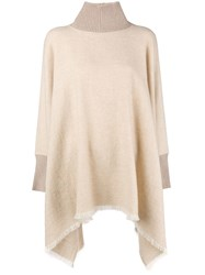 Agnona Turtleneck Poncho Nude And Neutrals