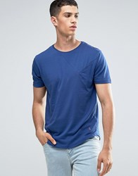 Ringspun Cut And Sew Pocket T Shirt With Curved Hem Blue