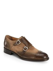 Saks Fifth Avenue Mixed Media Monk Strap Dress Shoes Tan Brown
