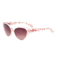 Heidi London Floral Cateye Frame Sunglasses Pink Purple