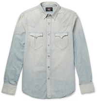Rrl Buffalo Slim Fit Washed Denim Western Shirt Gray