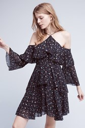 Anthropologie Shimmered Open Shoulder Dress Black