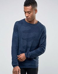 Jack And Jones Textured Camo Knitted Crew Neck Jumper Navy