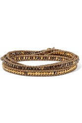 Chan Luu Gold Plated Crystal Wrap Bracelet One Size