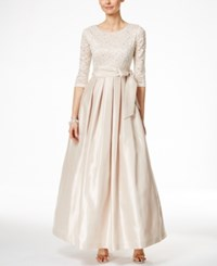 Jessica Howard Three Quarter Sleeve Lace And Satin Gown