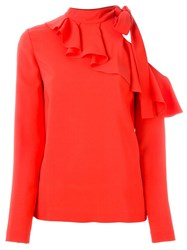 Emilio Pucci Tie Neck Ruffle Blouse Yellow And Orange