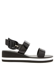 Ancient Greek Sandals Clio Rainbow Wedge Heel Patent Leather Black