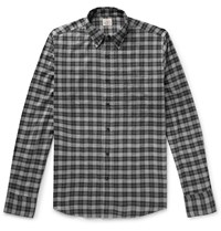 Faherty Everyday Button Down Collar Checked Stretch Cotton Shirt Gray