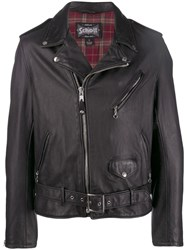 Schott Zip Up Biker Jacket Black