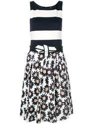Marc Cain Belted Mixed Print Dress White