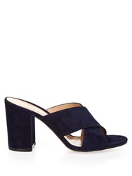 Gianvito Rossi Suede Cross Strap Mules Navy