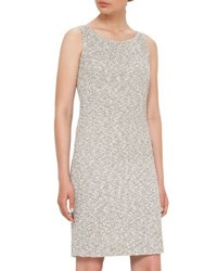 Akris Sleeveless Boucle Sheath Dress Black White Black White