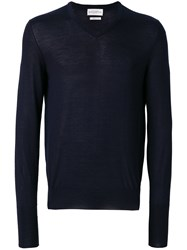 Ballantyne V Neck Fited Sweater Blue
