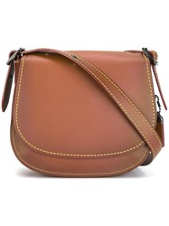 Coach Stitching Detail Saddle Bag Brown