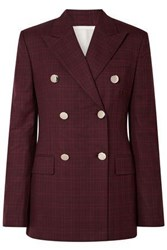 Calvin Klein 205W39nyc Woman Double Breasted Prince Of Wales Checked Wool And Silk Blend Blazer Burgundy