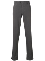 Fay Check Trousers Grey