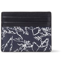 Michael Kors Printed Cross Grain Leather Cardholder Storm Blue