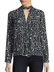 Romeo And Juliet Couture Animal Printed Silk Top Multicolor