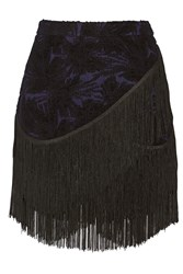 Rebecca Minkoff Mia Fringed Embroidered Wool Blend Mini Skirt Black