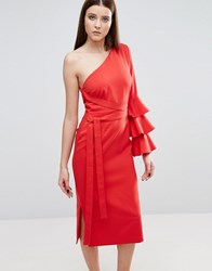 Lavish Alice One Shoulder Pencil Dress With Exaggerated Ruffle Sleeve Red
