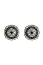 Judith Ripka Sterling Silver Sapphire Evil Eye Earrings Beige