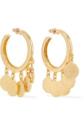 Ben Amun Gold Tone Charm Hoop Earrings One Size