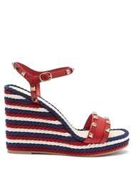 Valentino Rockstud Torchon Leather Wedge Sandals Red