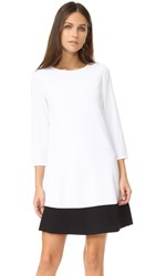 Alice Olivia Aspen Paneled Boatneck Dress White Black
