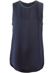 Theory Leather Trim Tank Top Blue