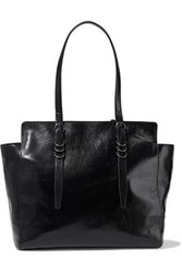 Halston Ring Embellished Textured Leather Tote Black
