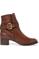 Chloe Leather Ankle Boots Dark Brown