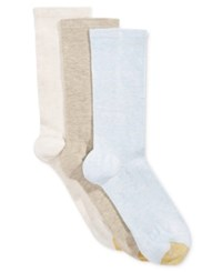 Gold Toe Women's 3 Pk. Non Binding Crew Socks Sky Blue Heather