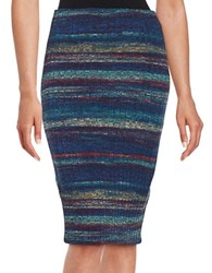 Design Lab Lord And Taylor Ribbed Knit Pencil Skirt Blue Multi