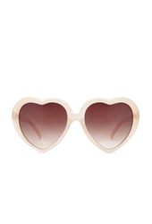 Forever 21 Heart Shaped Sunglasses Nude Brown