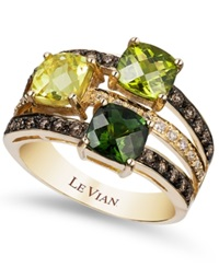 Le Vian Green Tourmaline 7 8 Ct. T.W. Peridot 7 8 Ct. T.W. Lemon Quartz 7 8 Ct. T.W. And Chocolate 1 3 Ct. T.W. And White Diamond 1 10 Ct. T.W. Ring In 14K Gold Multi