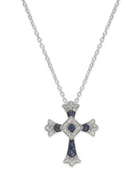 Macy's Sterling Silver Sapphire 1 6 Ct. T.W. And Diamond Accent Antique Cross Pendant Necklace Blue