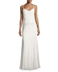 Lm Collection Beaded And Embroidered Godet Gown White
