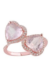 Rose Plated Sterling Silver Rose Quartz And White Topaz Fashion Ring Pink