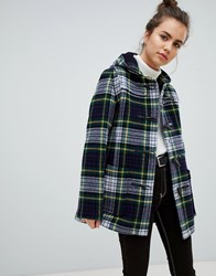 Gloverall Slim Mid Length Duffle Coat In Check Navy
