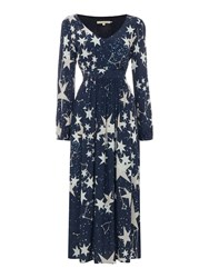 Little White Lies Long Sleeve Star Print Maxi Dress Navy