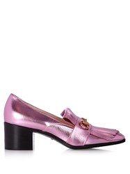 Gucci Polly Fringed Leather Loafers Light Pink