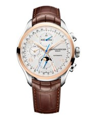 Baume And Mercier Clifton 18K Gold And Alligator Timepiece Brown