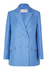 Valentino Oversized Double Breasted Wool And Silk Blend Blazer Blue
