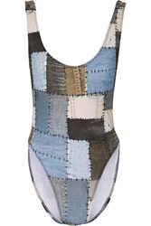 Norma Kamali Marissa Printed Patchwork Denim Effect Swimsuit Blue